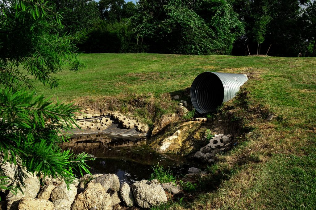 Sewage Pipe with Polluted Water